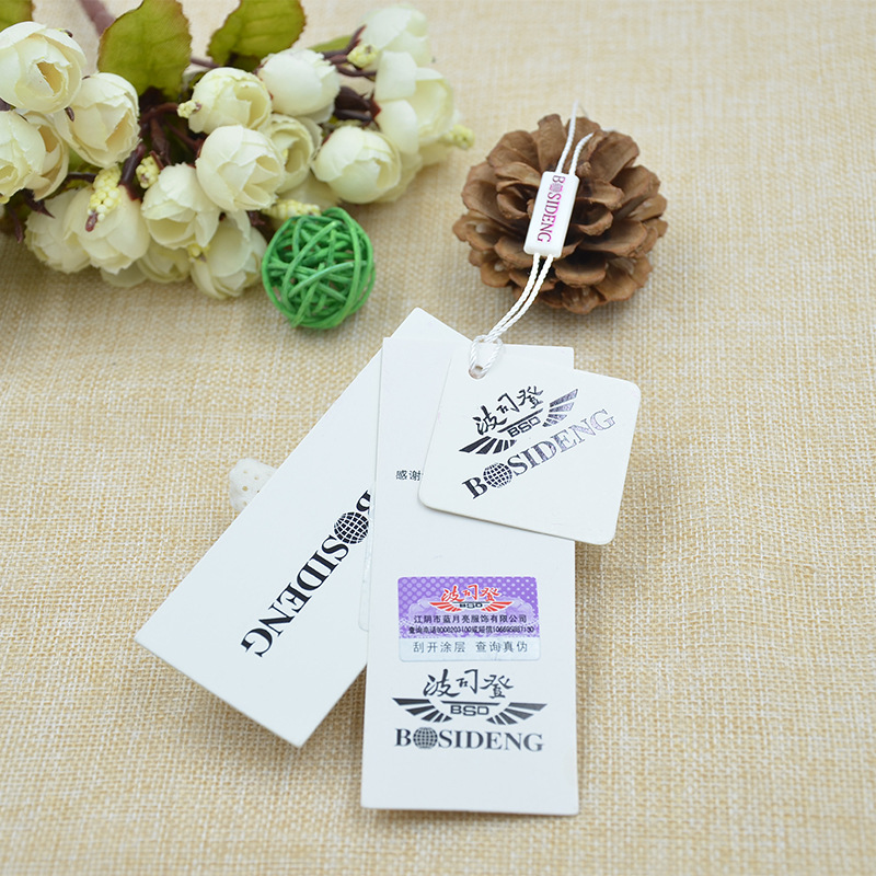 Coated paper and white cardboard tags to OEM custom-made clothing trademark trademark paper production