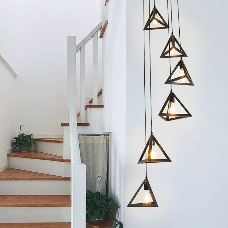 Lighting Basement Washroom Stairs: Simple American Stair Lamp Modern Rotary Staircase Pendant