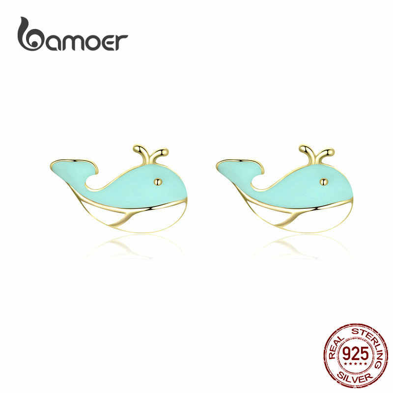 bamoer Small Enamel Stud Earrings for Girl Sterling Silver 925 Blue Whale Ear Studs Silver Women Fashion Korean Jewelry BSE191