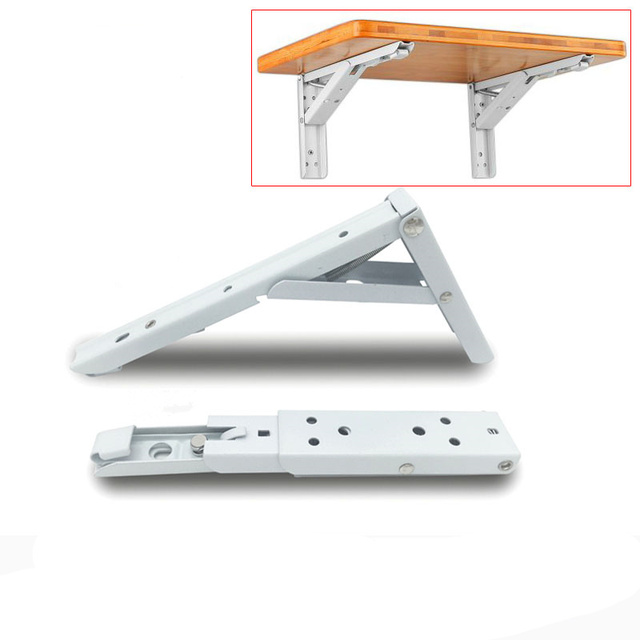 2pcs Practical Metal Triangular Bracket Folding Spring Support Table Top 90 Degree Telescopic Shelf
