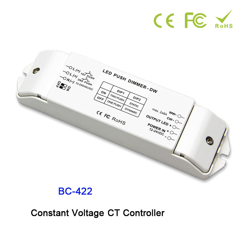 BC-422 PWM Constant Voltage CT Controller DIP Switch And Duplex Push Dim Button DC12V-24V Input;8A*2CH output for led strip kvp 24200 td 24v 200w triac dimmable constant voltage led driver ac90 130v ac170 265v input