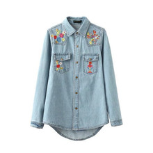 Women Summer jeans blouse denim shirt for women female 2016 long sleeve girl Foral Embroidery plus size blouses tops new fashion