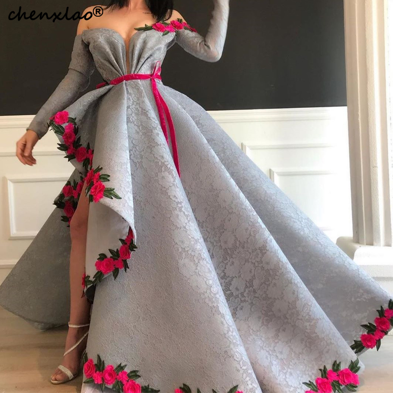 Vestidos De Festa Gray Evening Dresses Long Lace A-Line Off The Shoulder Full Sleeves Floor Length Evening Dress Party Gowns