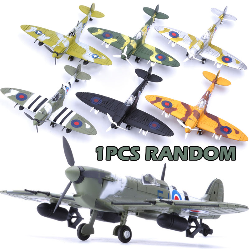 1Pcs Random 22*18CM Assemble Fighter Model Toys Building Tool Sets Aircraft Diecast 1/48 Scale War-II Spitfire Gift For Boy