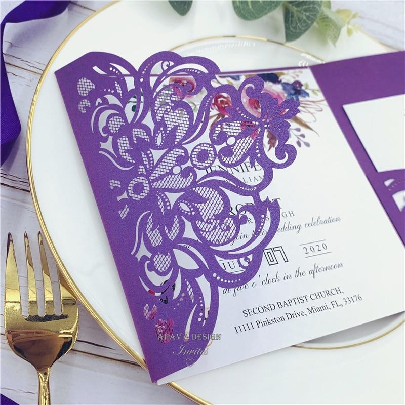 Invitations de mariage découpées au Laser de poche florale pourpre avec des nuances de Magenta d'automne classique-in Cartes et invitations from Maison & Animalerie    3