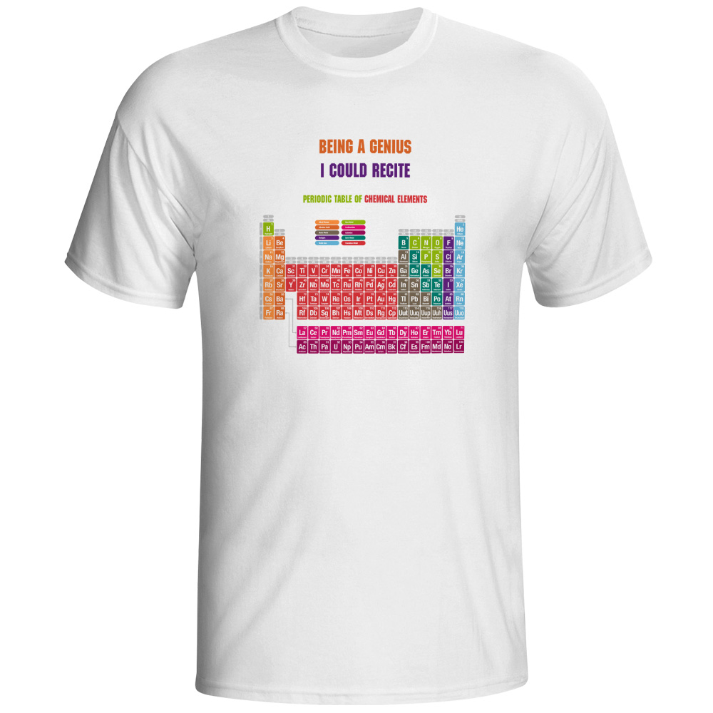 Creative cool geek periodic table of chemical elements t shirt creative cool geek periodic table of chemical elements t shirt fashion letter white printed t shirt for men and women in t shirts from mens clothing urtaz Images