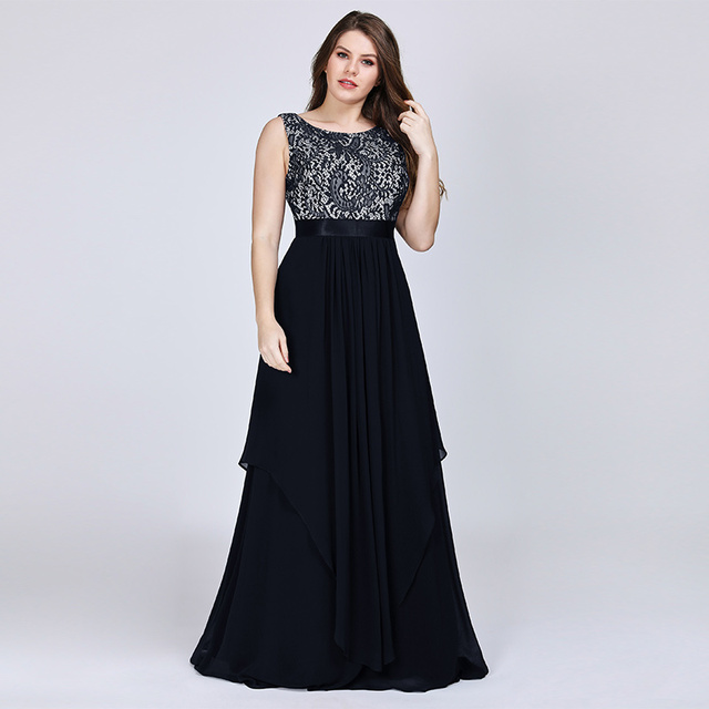 New Arrival Ladies Long Evening Dresses 2019 Elegant Sleeveless O-Neck Lace Plus Size Formal Gowns Chiffon A-line Robe De Soiree 1