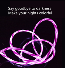 USB Cable Data Charging Flowing LED Glow Charger Wire Cord Micro For Type C iPhone X 8 7 Mobile Phone Cables