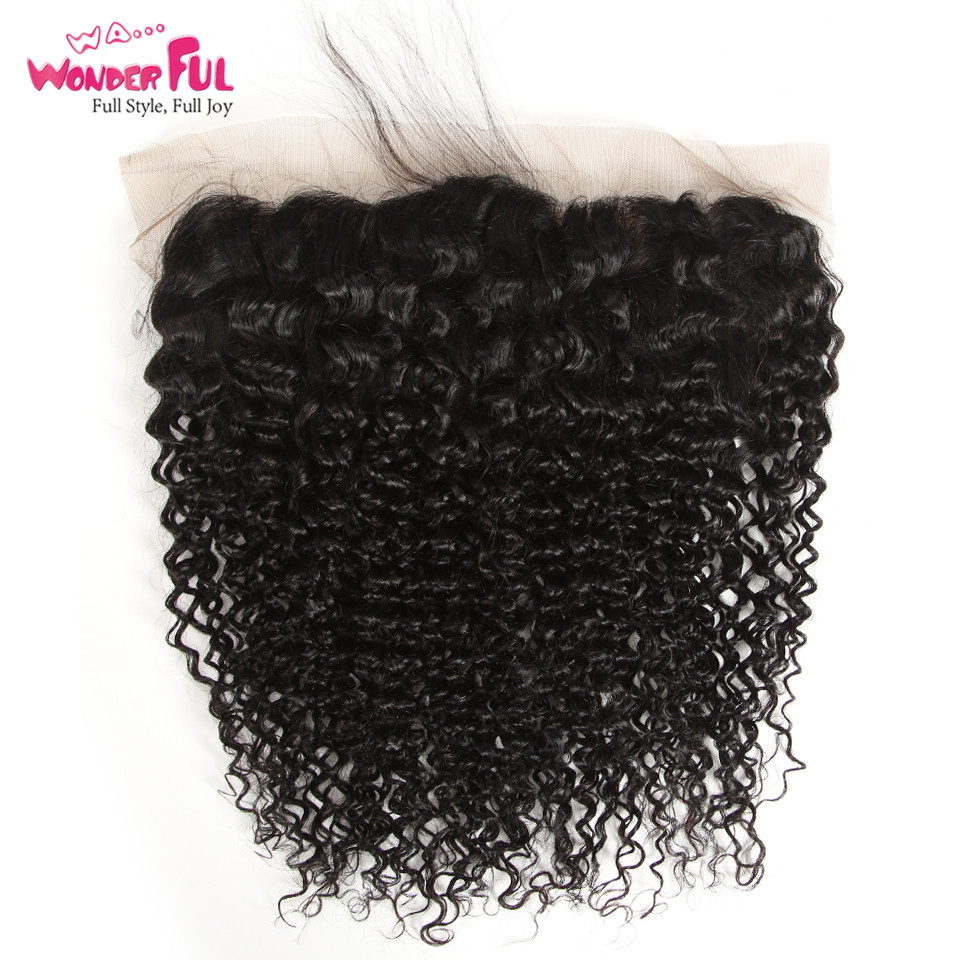 WA Wonderful Brazilian Kinky Curly13x4 Lace Frontal Closure Free Part 8 20 Inch Natural Color 100