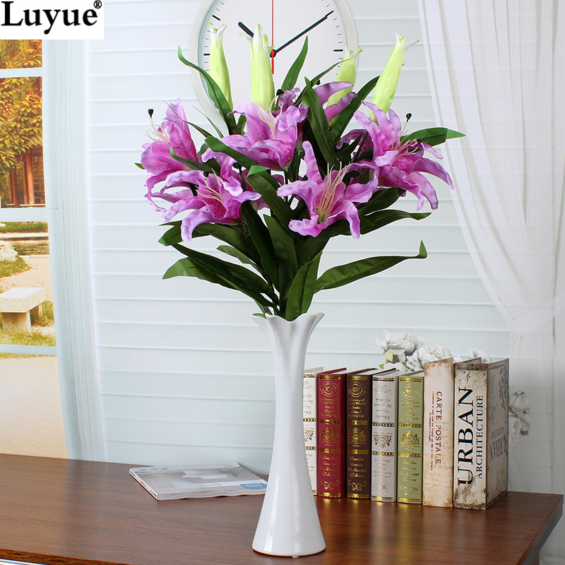 luyue official store 4pcslot 2 heads 87cm simulation lily flowers artificial silk flowers home - Silk Arrangements For Home Decor 2