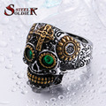 Steel soldier new arrival hip hop part gold skull ring with green eye stone stainless steel punk unique skull jewelry for men