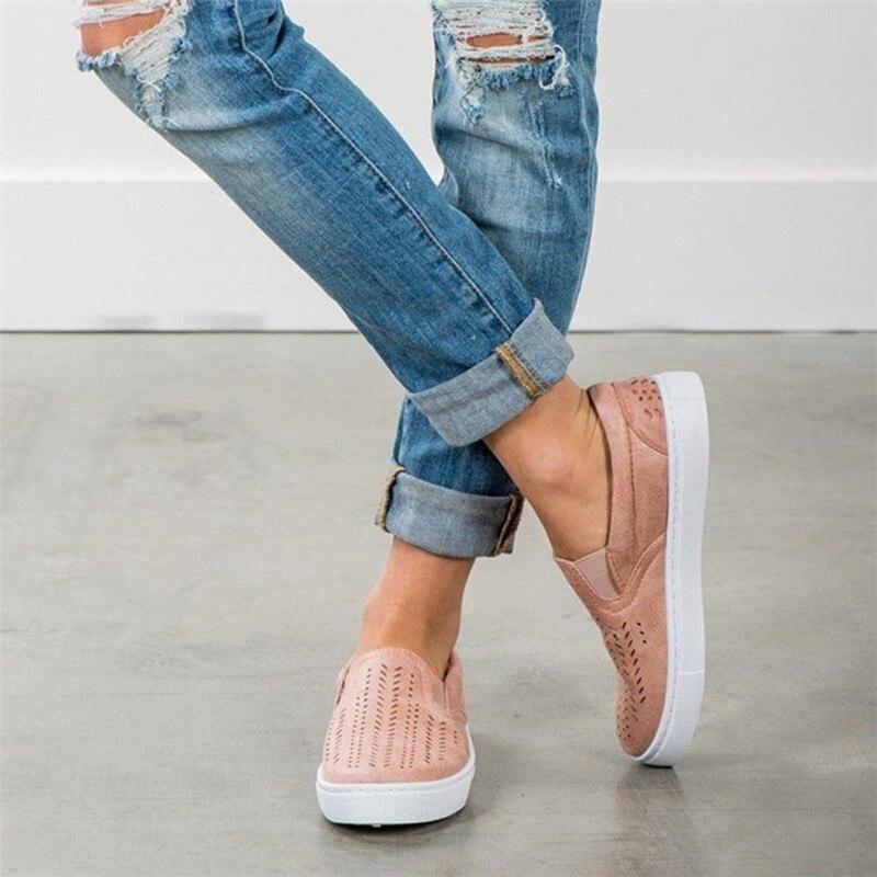 Mujer Plate Slip Chaussures Casual forme Bleu D'été Rond Évider Bout Femme On Mocassins rose Talon Femmes Plat Dames Zapatos SaxXwzqE