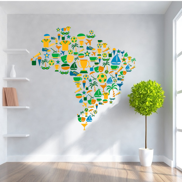 Dibujos Animados Brasil mapa removible fantástico pared arte calcomanía pared cita pegatina hogar Decoración pared pegatina moda boda decoración