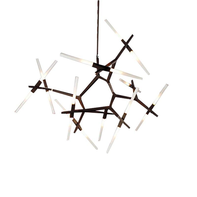 Wongshi Modern Dual Tube Branch Arts Pendant Lights Italian Design Personality Living Room Restaurant Lamps Fixtures