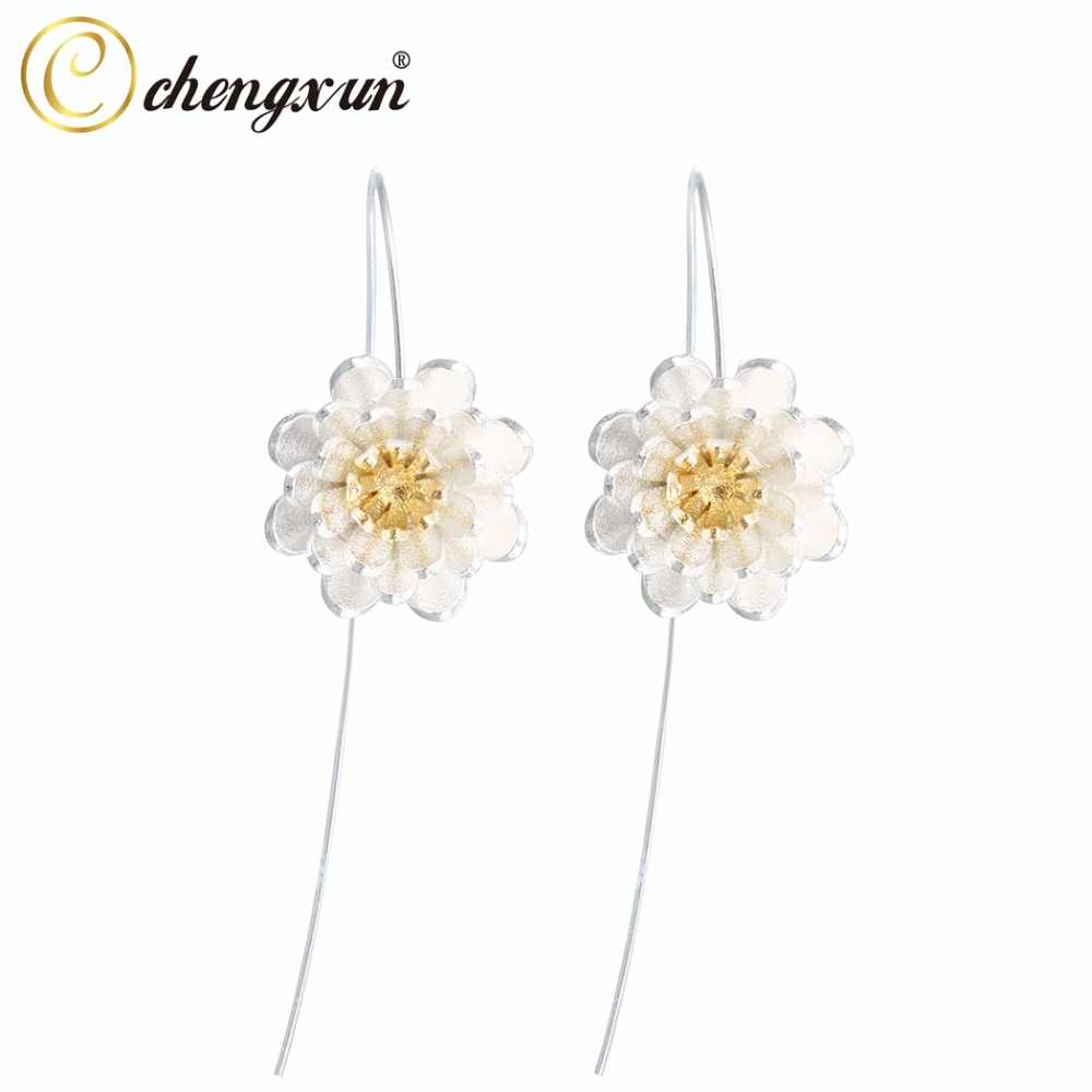 CHENGXUN Yoga Golden Lotus Flower Dangle Drop Hook Earrings 925 Sterling Silver Christmas Gift