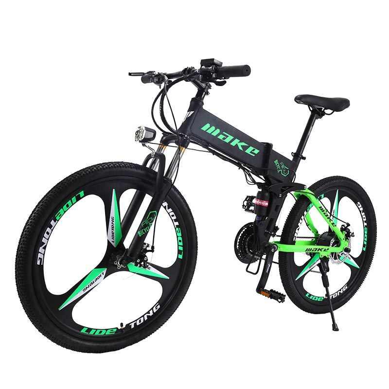 """MAKE горный электрический велосипед двухподвес алюминиевая складная рама 27 скоростей Shimano Altus дисковые тормоза 26"""" колеса литые диски"""