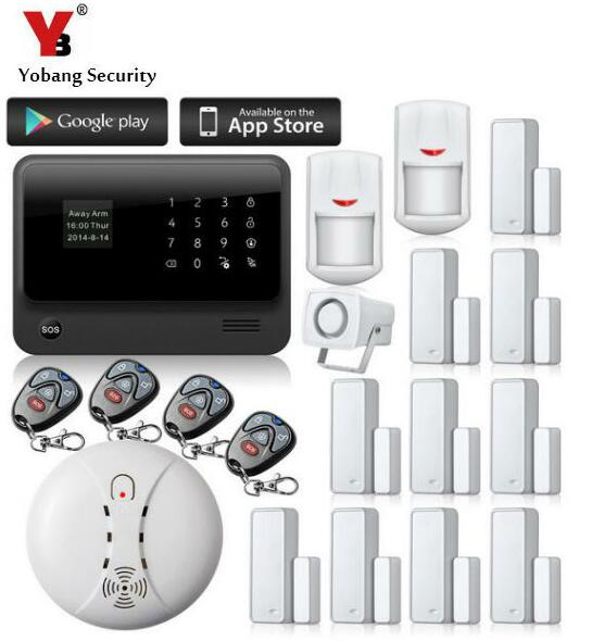 YobangSecurity Smart Home Security Android IOS APP G90B WIFI GSM Alarm with PIR Motion Detector Wireless Smoke Sensor
