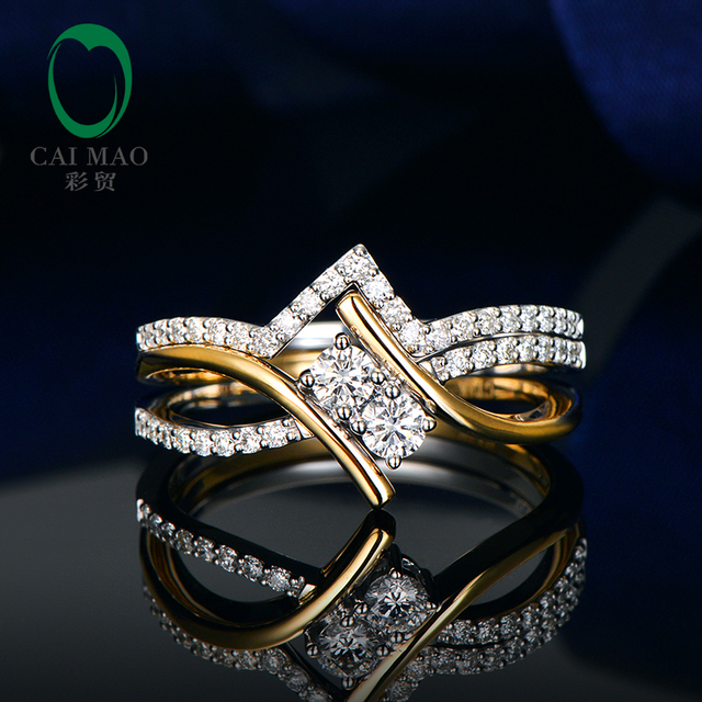 Caimao 14kt Multi-Tone Gold 0.56ctw Natural Brilliant Cut Diamond Engagement Ring and Wedding Band