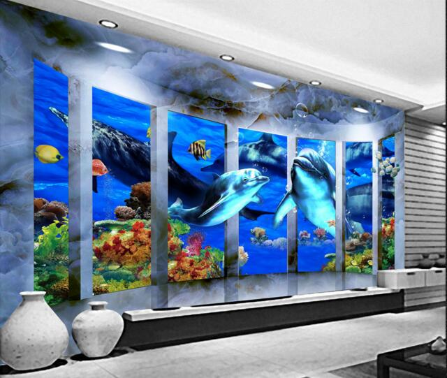 3d Wallpaper Custom Mural Non Woven Wall Sticker 3 D Space Marine Dolphins  Outside Door