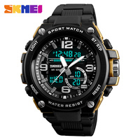 Fashion Men Sports Watches SKMEI Men Dual Display Quartz Analog LED Digital Wristwatches 50m Waterproof Clock