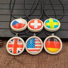 2019 Cute Wood Wooden Necklace Pendant Rope National Flag Time Gem USA Germany United Kingdom Czech Republic AA001-018(China)