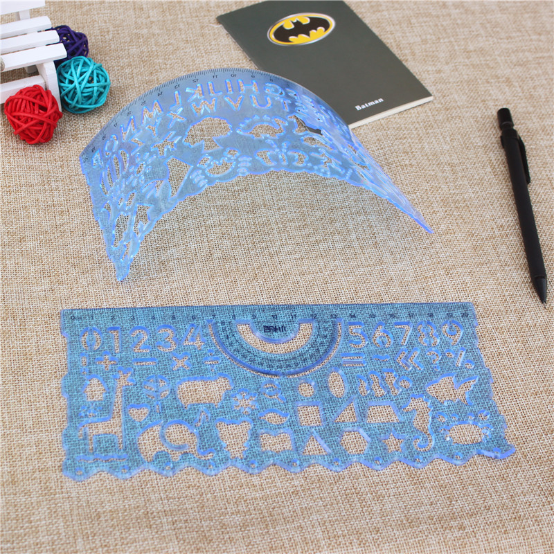 2pcs/set Soft Drawing Template Ruler Diary Handbook Cute Template Drawing Ruler Not Afraid Of Falling