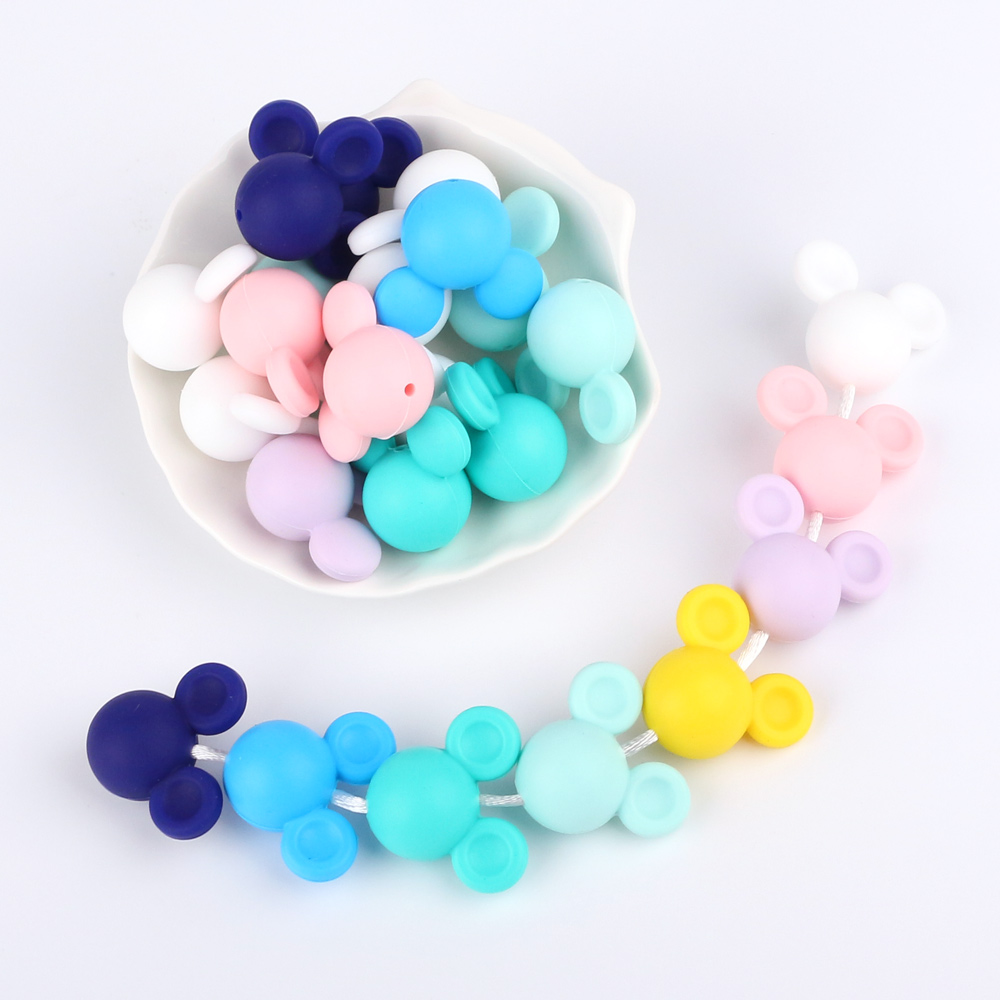 TYRY HU 100Pcs Lot Mouse Shape Silicone Beads Teether Baby Teething Pendant Silicone Pacifier Clips BPA