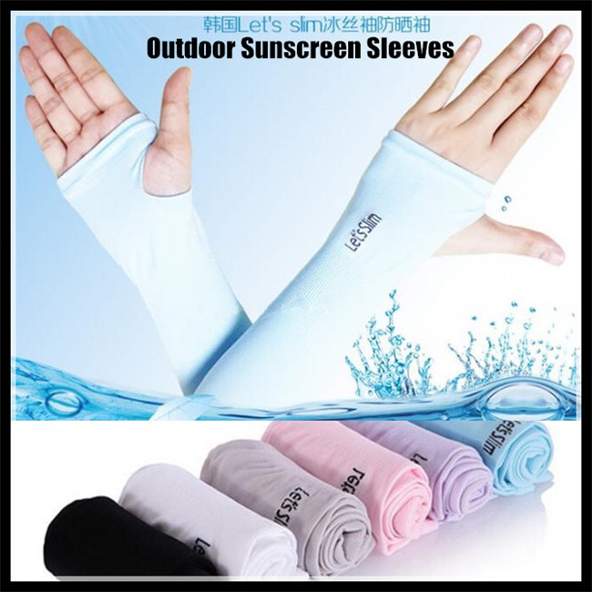400p! Section Drove UV Sunscreen Half Finger Cuff  Arm Sleeves Hand Protection Women&Men Fingerless Long Gloves +gift Box