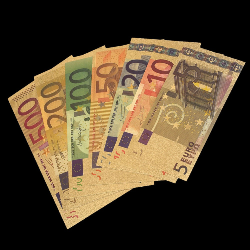 1 pcs צבע אירו שטר סטי 5 10 20 50 100 200 500 EUR שטרות זהב 24 K זהב לסכל הנצחה מטבע זהב שטרות