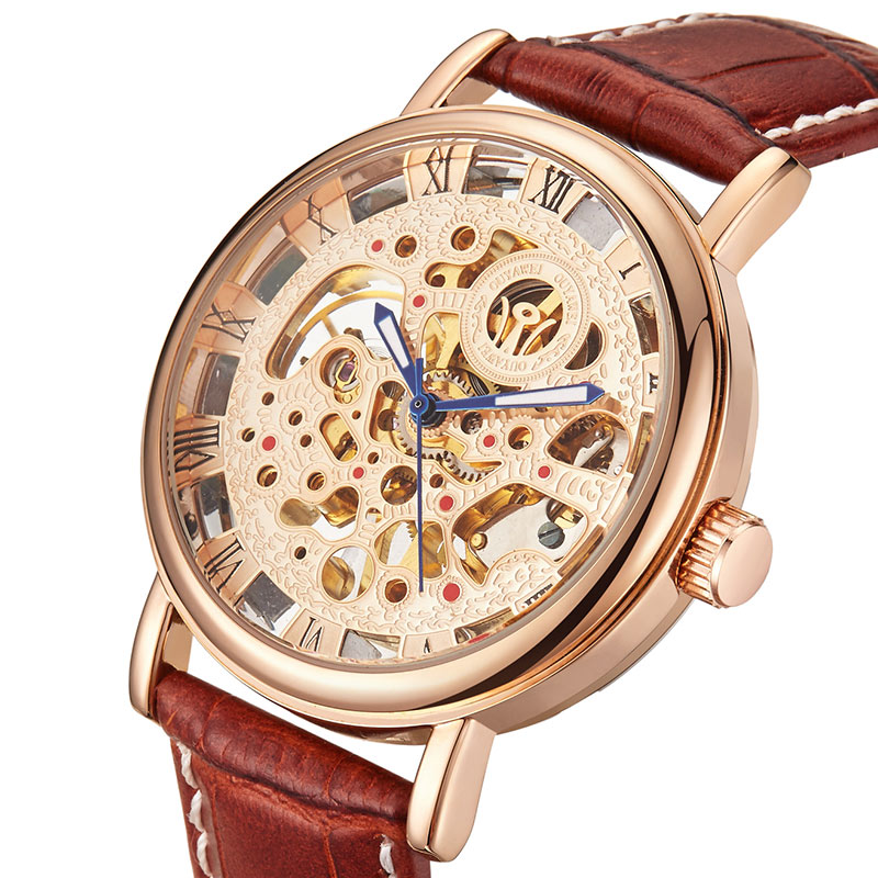 OUYAWEI Luxury Brand Men Watch Gold Skeleton Casual Watches Mechanical Hand Wind Wrist watches Man's clock Reloj Hombre men luxury brand casual gold full steel band skeleton automatic self wind mechanical hand wind goden relogio for man wrist watch