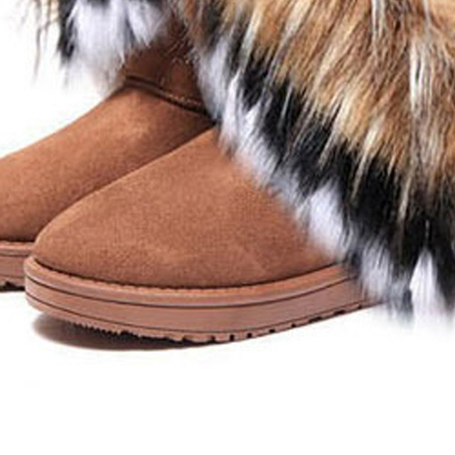 Women Flat Ankle Winter Leather Warm Snow Fur Boots Shoes For Women