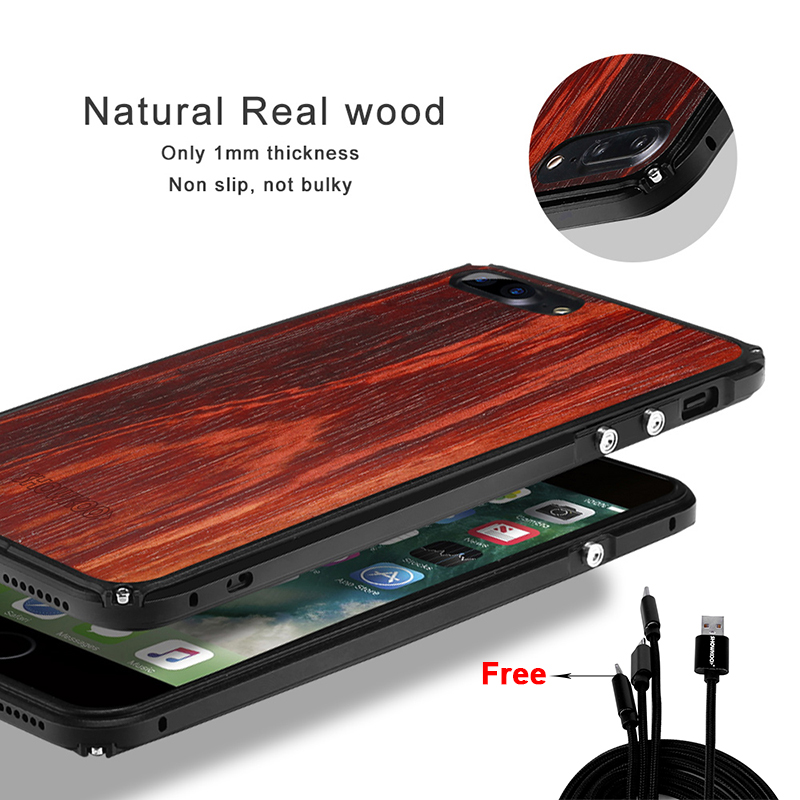 Showkoo Natural Wood Phone Case For iPhone X 7 Plus 6S 6 Plus original wood Metal Frame perfect Integrated phone cover Case New