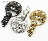 1pc High Grade Rhinestones Buttons Fashion Buttons For Windbreaker Fur Coat Decoration 3 Type Leather Buckle