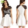 GOPLUS 2016 Women Black and White Hollow Out Lace Dress Patchwork Vestidos Femininos Summer Dress Ladies Short One Piece Dress