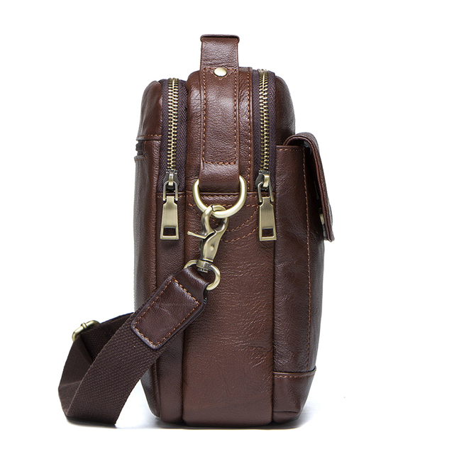 CONTACT'S Genuine Leather Shoulder Bags Fashion Men Messenger Bag Small ipad Male Tote Vintage New Crossbody Bags Men's Handbags 2