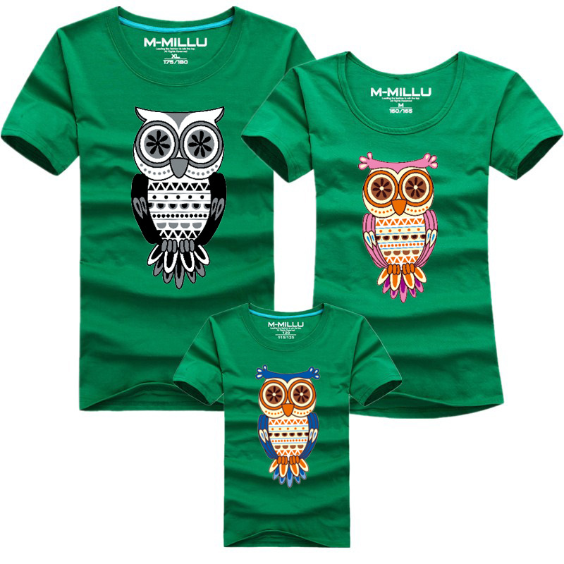 Buy 1 piece new family look owl printed t T shirts for dad
