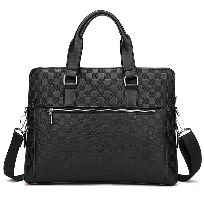New Embossed Male Handbag Business Document Computer Bag Two Single Shoulder Skew Spanning Bags in Briefcases from Luggage Bags