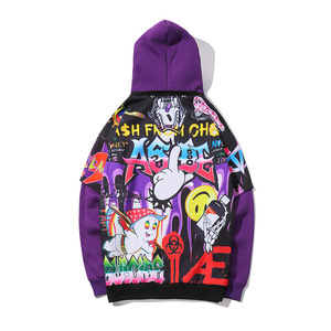 Image 4 - Hip Hop Graffiti Hoodie Men Fleece Pullover Harajuku 2019 Autumn Winter Fashion Casual Purple Streetwear Sweatshirt Male HZ025