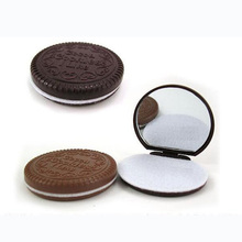 Women Foldable Makeup Tool Pocket Mirror Mini Dark Brown Cute Chocolate Cookie Shaped With Comb Lady