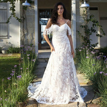 Thinyfull Vestido De Noiva Beach Wedding Dresses 2019 Boho A-Line Lace Applique Bridal Gowns Country Bride Dress