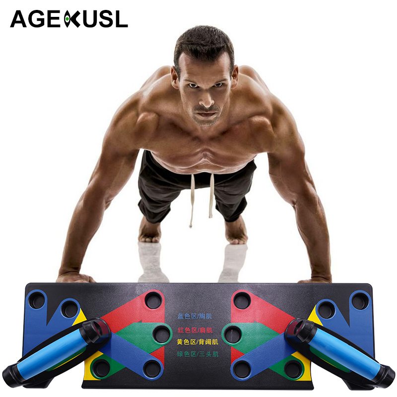AGEKUSL Push Up Rack Board 9 System Men Women Comprehensive Fitness Exercise Workout Push-up Stands Body Building Training Gym
