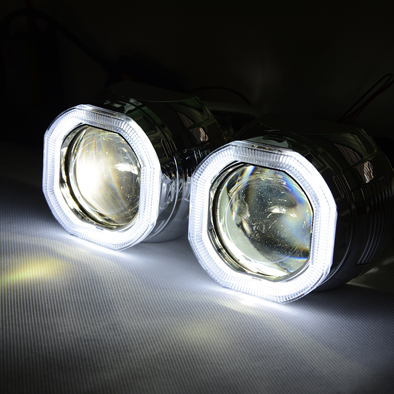 RACBOX 2.8 Inch HID Bi-xenon Headlight Projector Lens with White Color Square style Angle Eyes use H1 Bulb for H7 H4 Headlight
