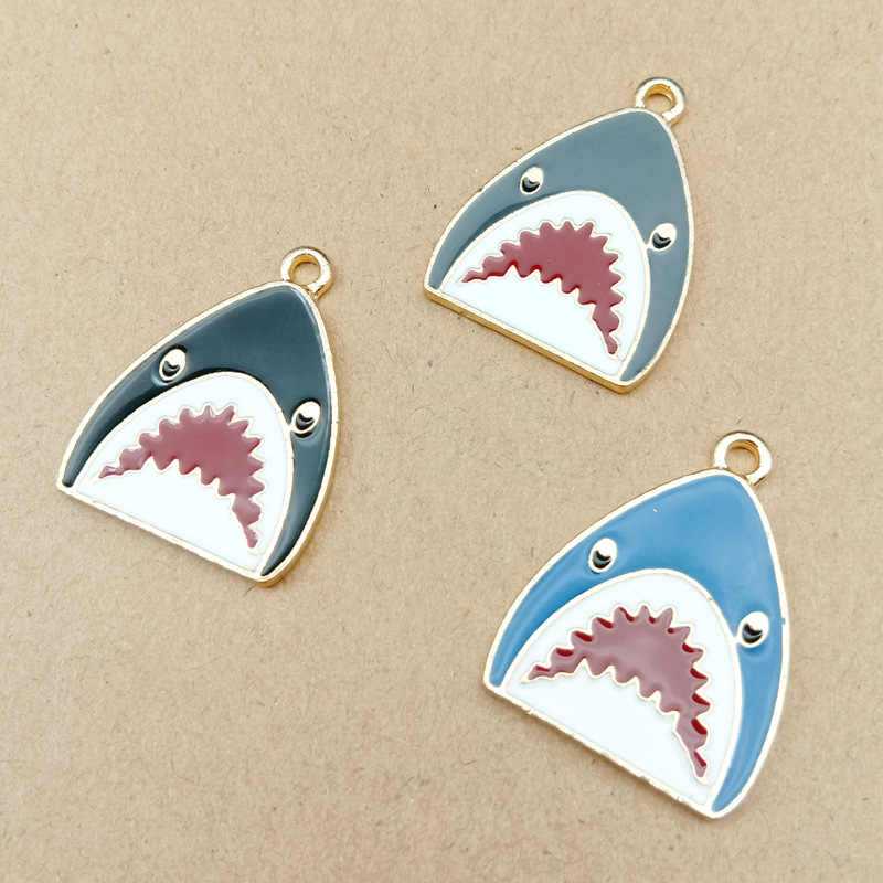 10pcs 28x21mm DIY cute enamel ocean shark charms nautical item metal Alloy bracelet necklace Pendant jewelry making ornament