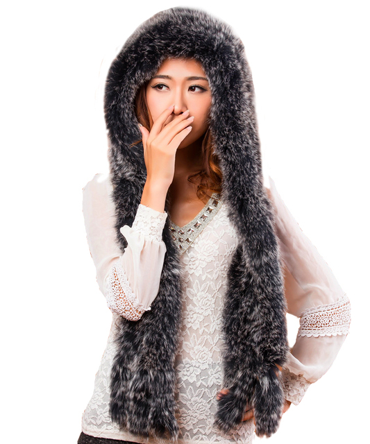 Winter Fashion Women Real Fox Fur Knit Hat with Scarf Warmer Nutural Fur Hat FFHH001
