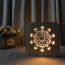 NEW Strange LED Snowflake Wooden Crafts 3D Night Light USB Table Desk Lamp For Christmas Birthday Gift Holiday Bedroom Decor beiaidi 3d vision acrylic table lamp 3d owl butterfly led night light creative wooden bedside lamp for christmas birthday gift