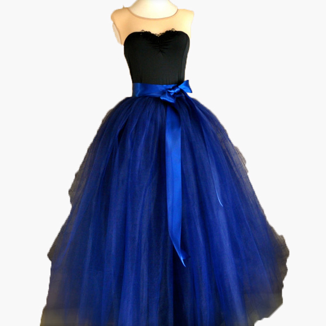 Royal Blue Prom Tulle Skirt with Sashes Ball Gown Floor Length Long ...