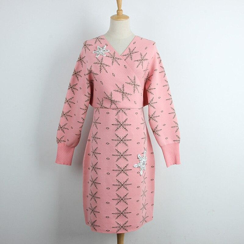 cou Ceintures Femmes Neige pink Black Élégant Robe Tricotés Lâche 2018 Chandails Automne Tricoté V De Flocon Sexy 1wnAEBfqp