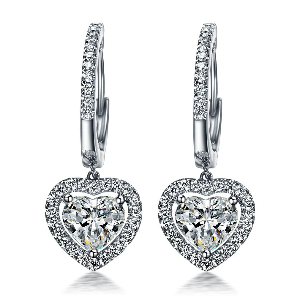 Piece Sterling 925 Silver Earrings Heart Shape Synthetic  Diamonds Dangle Earrings Love