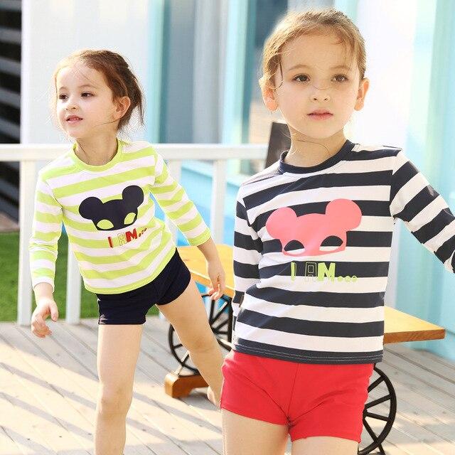 2016 New Korean Kids Striped Swimsuit Cute Girls Long Sleeve Swimwear Baby  Girl Beach Sports Bathing Suits with Swim Cap e59661803706