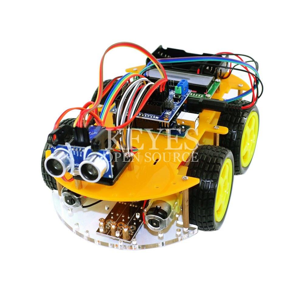 Kit de voiture robot multifonction Bluetooth châssis costume suivi Compatible UNO R3 bricolage RC robot jouet électronique avec Lcd1602